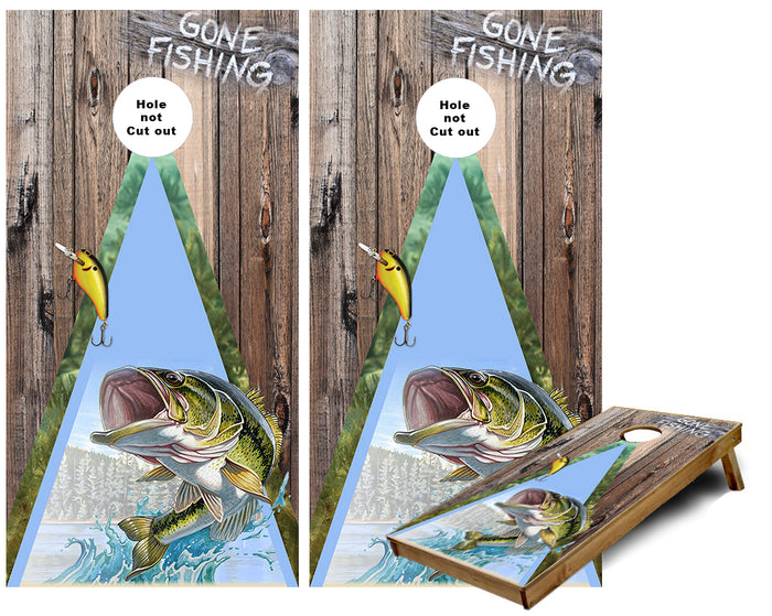 Gone Large Mouth Bass Fishing Cornhole Wraps