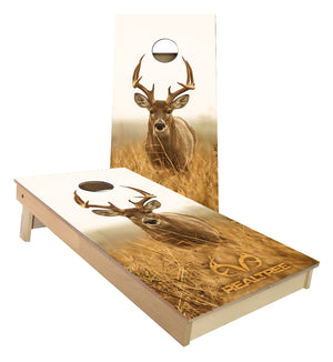 White tail buck walking Cornhole Boards