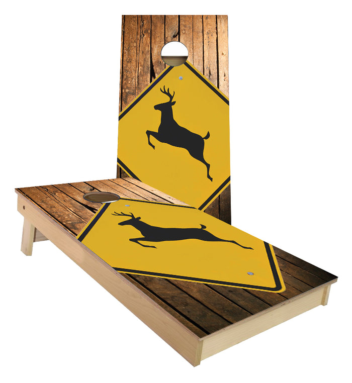 Deer Crossing Sign Cornhole Boards
