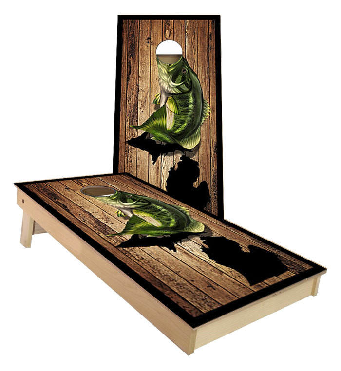 Michigan Bass Fishing cornhole boards