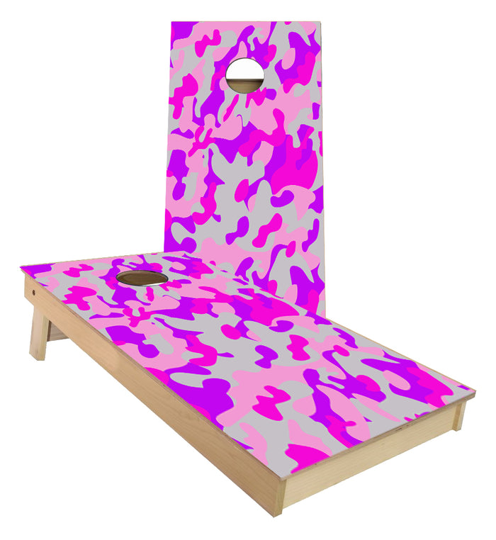 Pink Camo Cornhole Boards