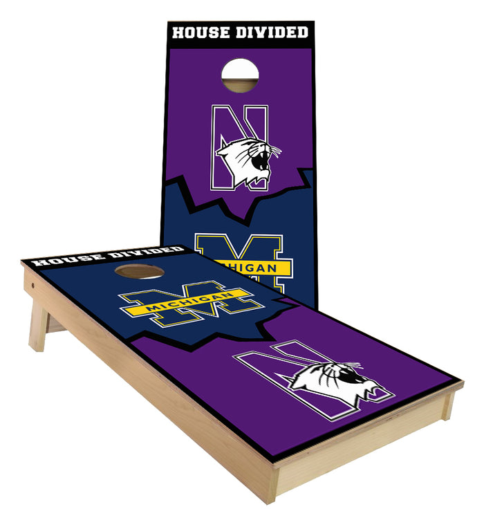 House Divided Northwestern and Michigan Cornhole Boards