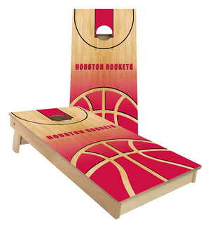 Houston Rockets Basketball Court Cornhole Boards