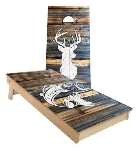 Deer Hunting and Bass Fishing cornhole boards