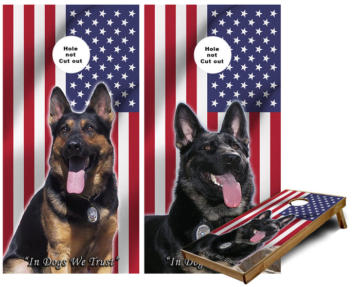 In Dogs we trust American Flag Hero Canines Cornhole Wraps