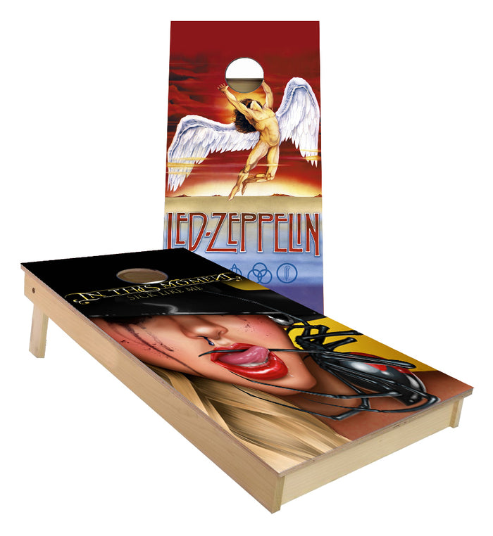 Led Zepplin and In this Moment custom Cornhole Board set