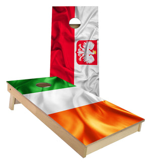 Irish and Polish Flag Cornhole Boards