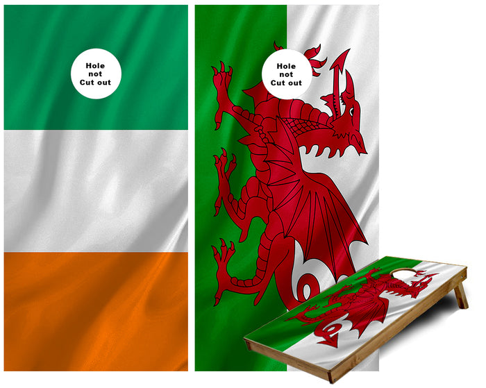 Irish and Welsh Flag Cornhole Wraps