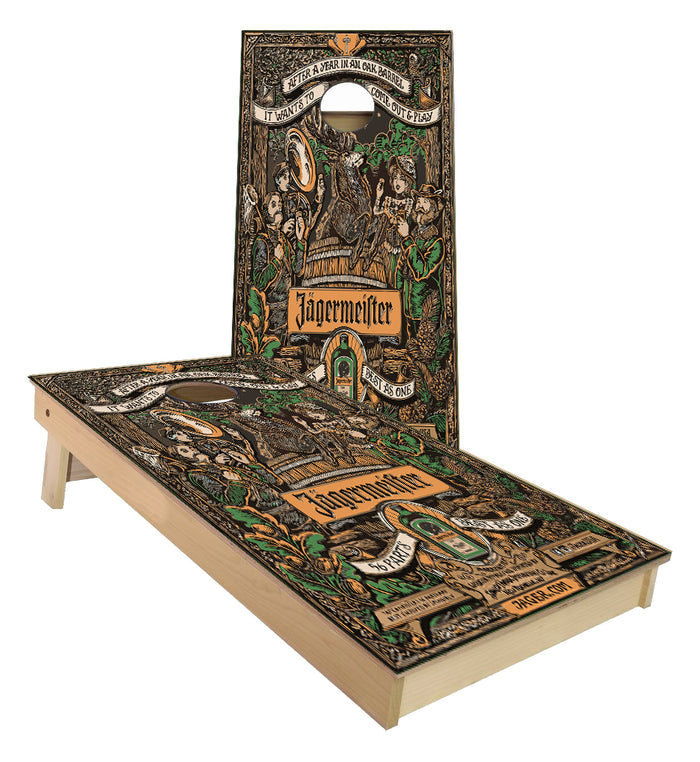 Jagermeister 56 parts Oak aged custom Cornhole Boards