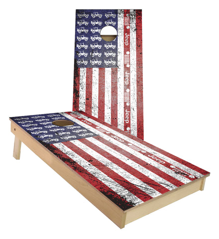 Jeep American Flag Grunge cornhole boards
