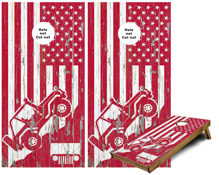 Jeep Mountain Side US Flag Cornhole Wraps