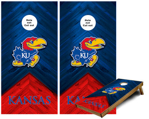 Kansas Jayhawks on colored wood look custom Cornhole Wraps