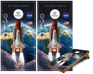Space Shuttle with Mission patches custom Cornhole Wraps