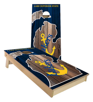 Lake Superior State Michigan outline Cornhole Boards