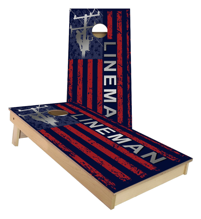 American Lineman Flag cornhole boards