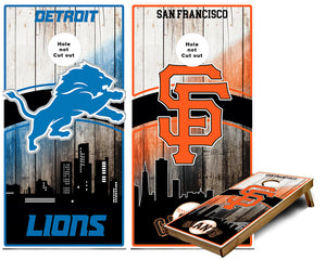 Lions and Giants Teams Cornhole Wraps