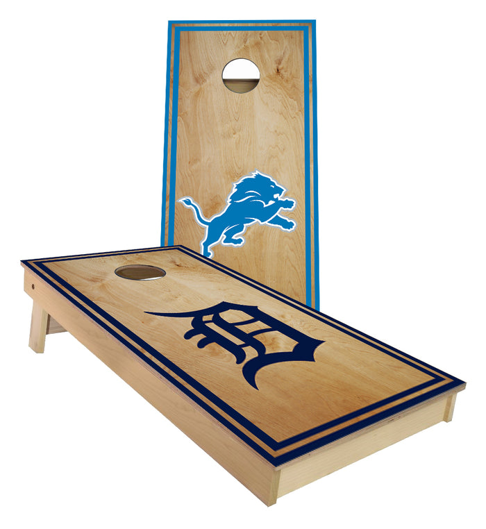 Detroit Lions and Tigers Sports Striped theme Cornhole Boards