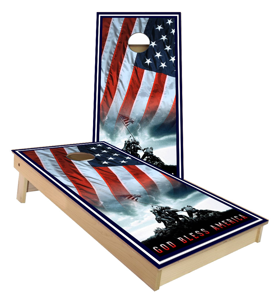 Marines Iwo Jima God Bless America cornhole boards
