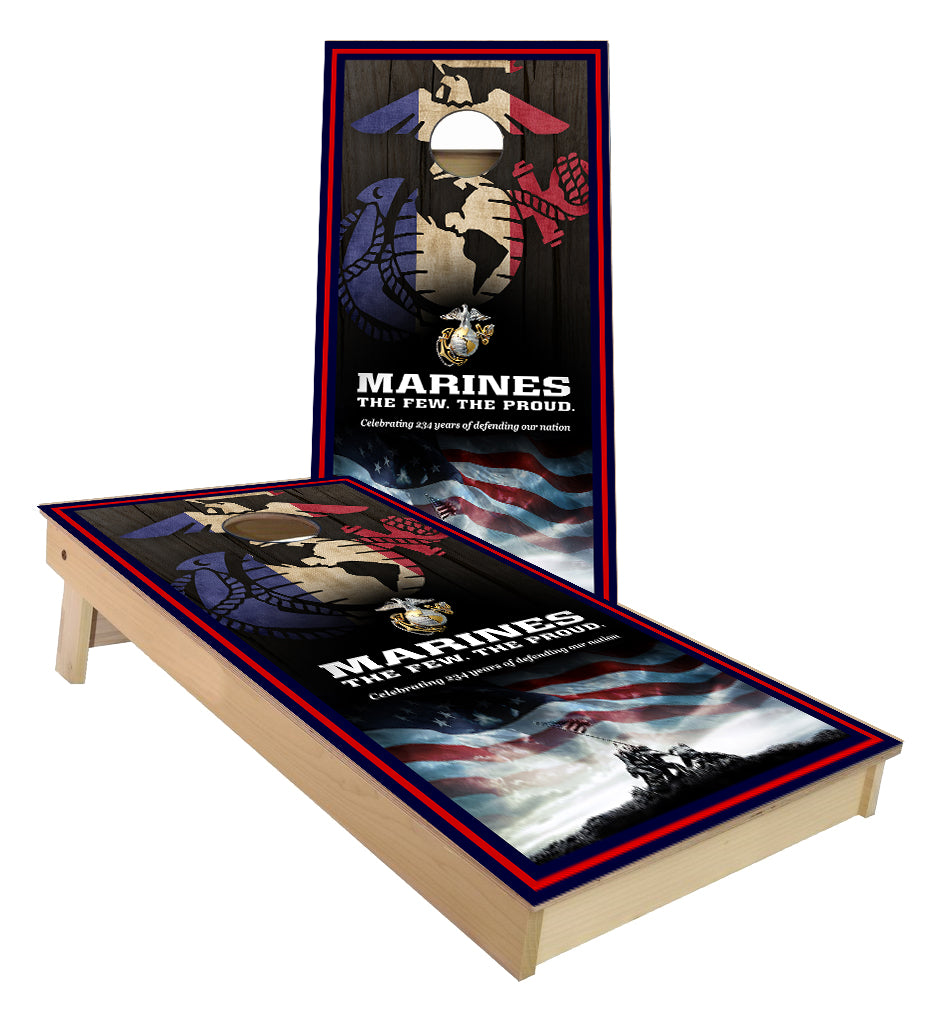The Few the Proud the Marines cornhole boards