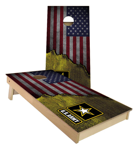 Army American Flag torn Metal cornhole boards