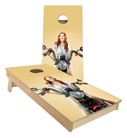Motorcycle Pin up Girl Cornhole Boards