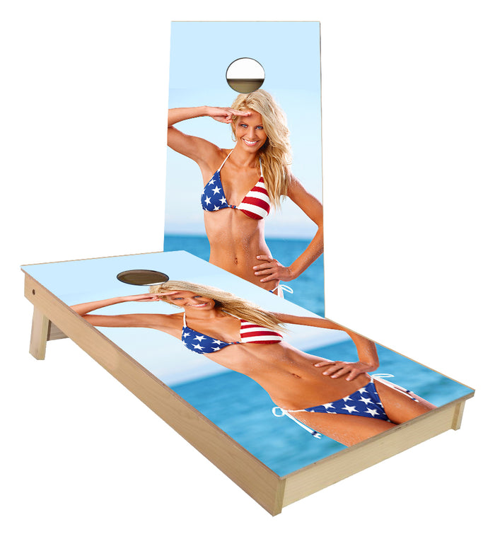 Women in Red White Blue Bikini Cornhole Boards