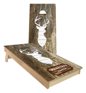 Manataka ranch Deer Silhouette rustic wood Cornhole Boards