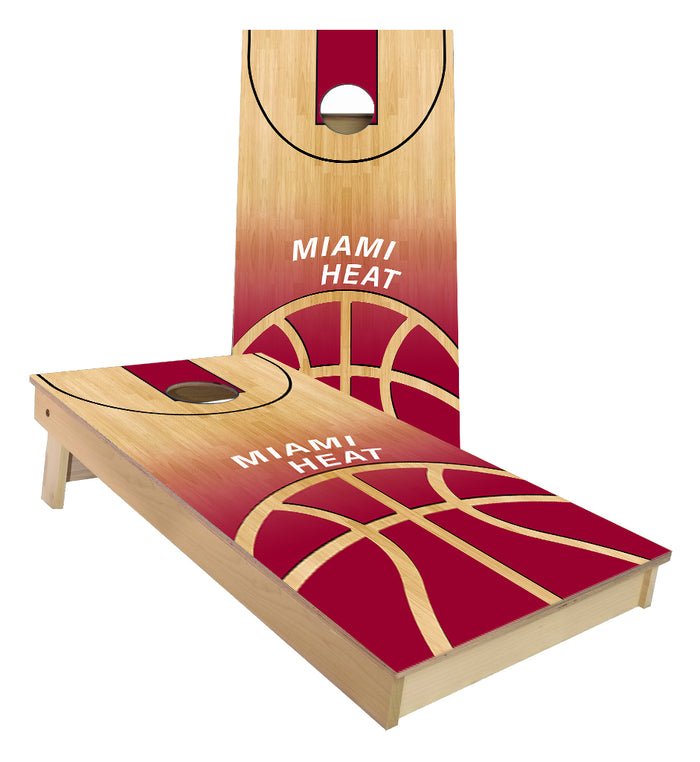 Miami Heat Basketball Court Cornhole Boards