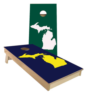 Michigan Green White and Navy Yellow MI Silhoutte Cornhole boards