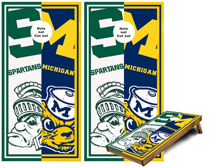 Michigan and MIchigan State House Divided cornhole wraps