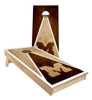 M Triangle Stained look custom Cornhole Boards