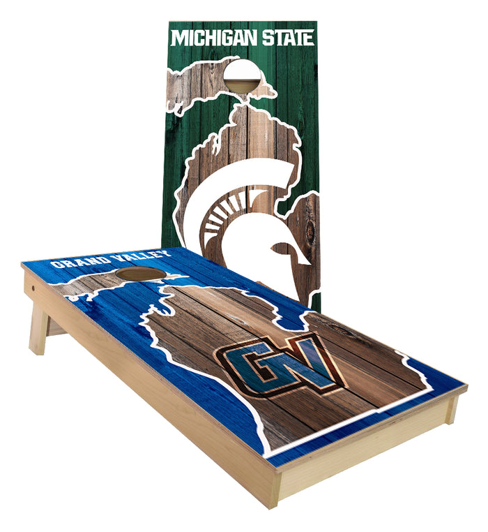 Grand Valley Lakers and Michigan State Spartans Cornhole Board set