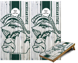 Michigan State Sparty with State of Michigan outline Cornhole Wraps