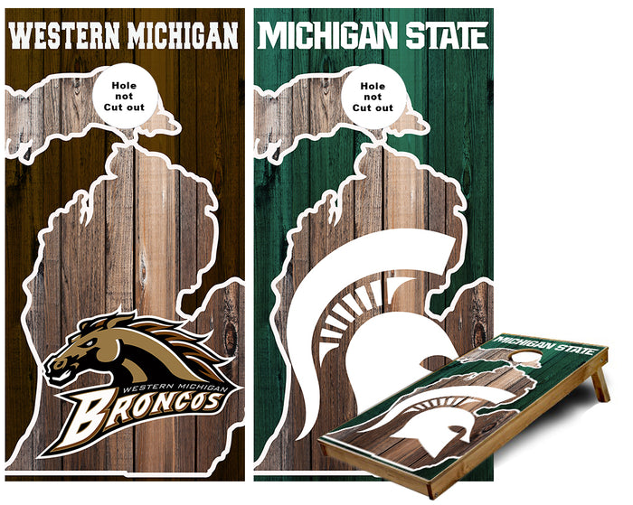 Michigan State and Western Michigan in State of Michigan Outlinie Cornhole Wraps
