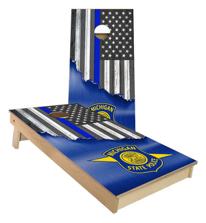 Michigan State Police Thin blue Line Flag Cornhole Boards