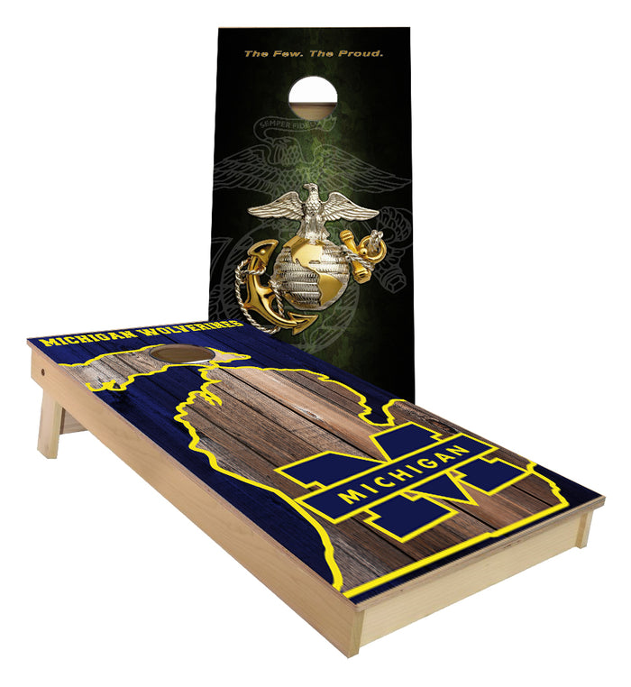 Marines and Michigan Wolverines Cornhole Board set
