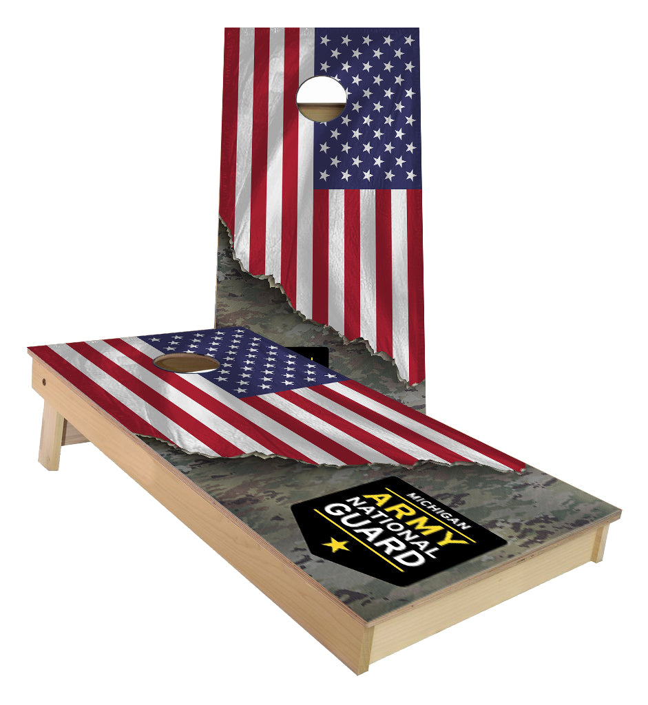 Michigan Amry National Guard Flag Cornhole Boards