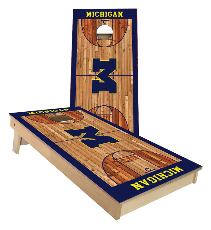 Michigan Wolverines Basketball Court Cornhole Boards