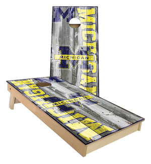 Michigan Wolverines Large Text Cornhole Boards
