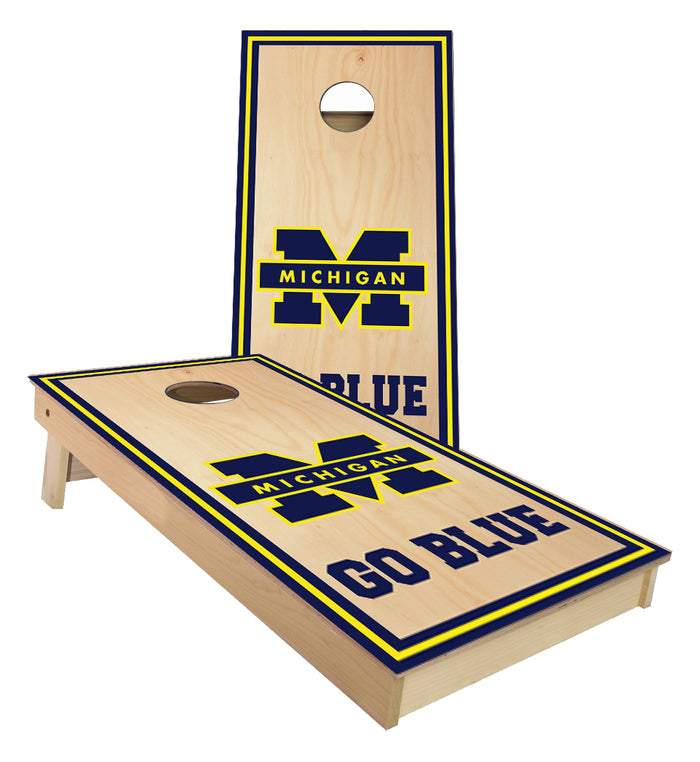 Michigan Go Blue cornhole boards
