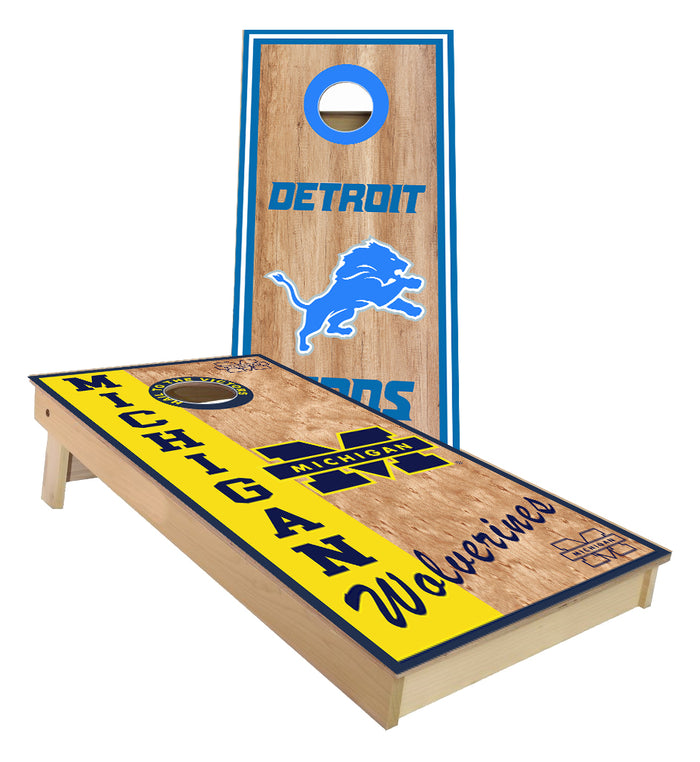 Lions and Michigan custom Cornhole Boards