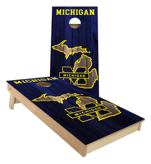 Michigan Wolverines on State Map cornhole boards
