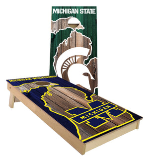 Michigan and MSU House Divided MI Outline cornhole boards