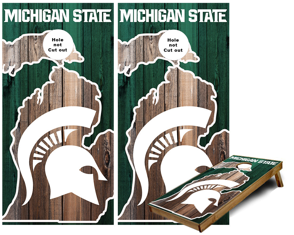 Michigan State Michigan Outline rustic wood look Cornhole Wraps