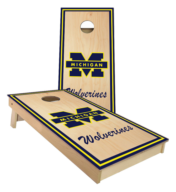 Michigan Wolverines on Stained wood cornhole boards