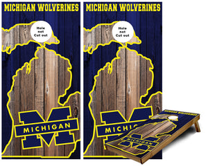 Michigan in State of Michigan outline custom Cornhole Wraps