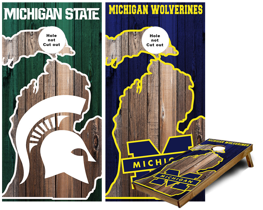 Michigan Wolverines and Michigan State Spartans House divided in Michigan outline Cornhole Wraps