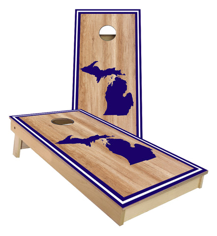Michigan on Stained with Outer striped boarder Cornhole boards