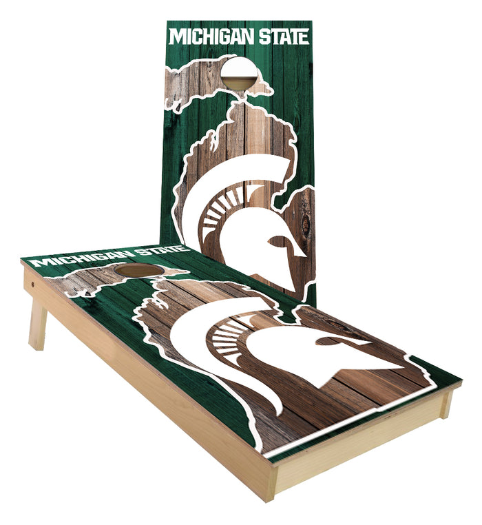 Michigan State MSU log in State of MI outline Cornhole Boards