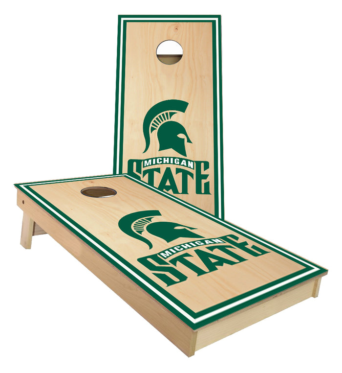 Michigan State Spartans on Stained surface Cornhole Boards